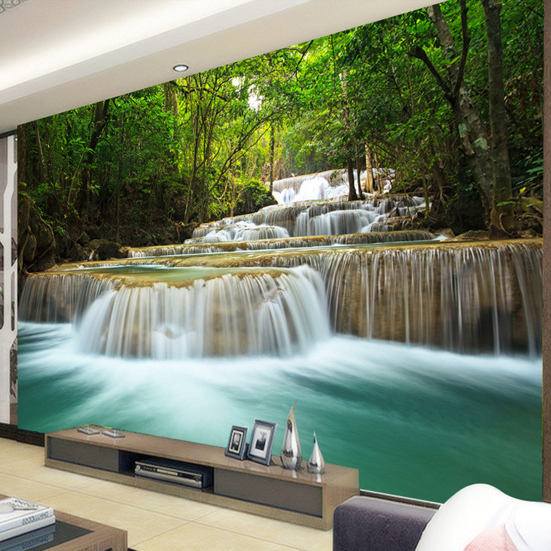 Custom Any Size Forest Waterfall Landscape Living Room Sofa TV Background Wall Mural Wallpaper Painting Papel De Parede 3D SalaCustom Any Size Forest Waterfall Landscape Living Room Sofa TV Background Wall Mural Wallpaper Painting Papel De Parede 3D Sala