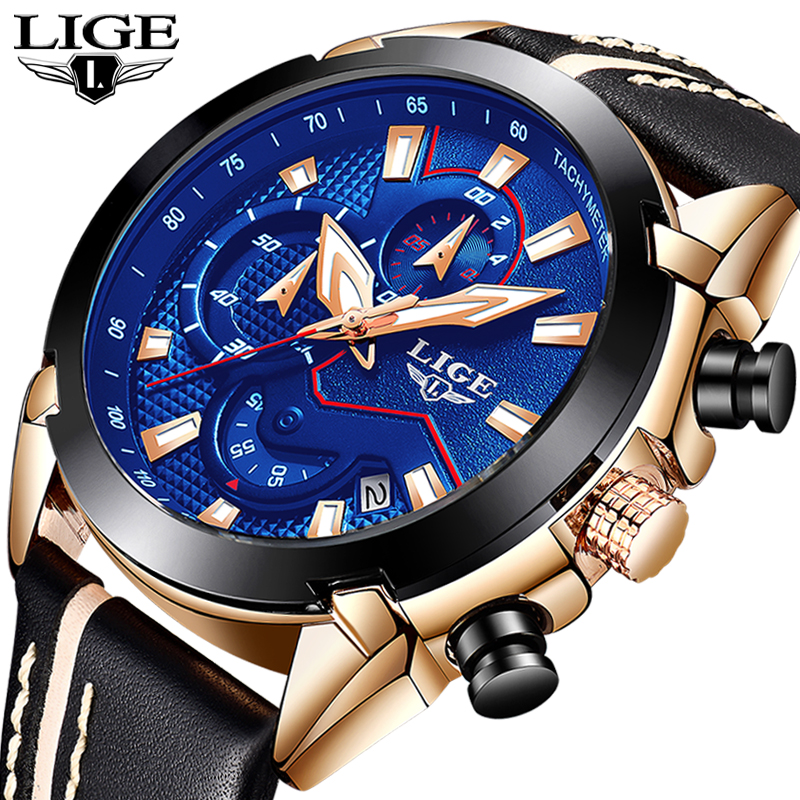 2018 New LIGE Mens Watches Top Brand Luxury Waterproof Date Quartz Watch Man Leather Sport Wrist Watch Men Waterproof Clock+Box splendid brand new boys girls students time clock electronic digital lcd wrist sport watch