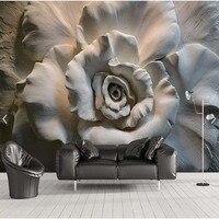 Europeu simples Murais De Parede 3D Estereoscópico flor alívio Foto Murais De Parede Para sala Quarto TV Papel De Parede do Desktop