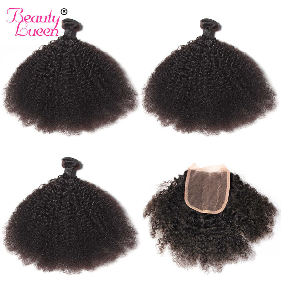 Afro Kinky Curly Weave Human Hair Bundles with Lace Closure 4x4 Free Part Non Remy Mongolian Hair Weave 3 Bundles with Closure