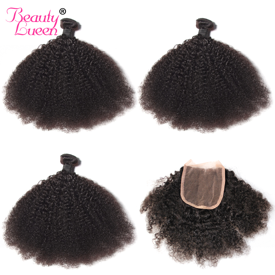 Afro Kinky Curly Weave Human Hair Bundles with Lace Closure 4x4 Free Part Non-remy Mongolian Hair Weave 2/3 Bundles with Closure