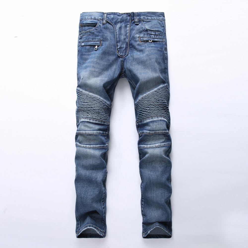 New 2017 Punk Street Men Pleated   Jeans   Slim Fit Hip Hop Denim Trousers High Quality Motorcycle Pants Plus size 27-42