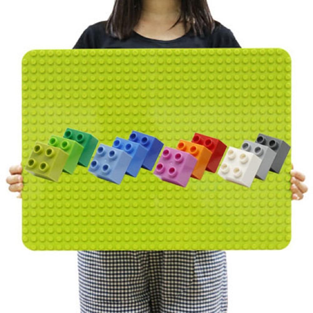 512 Duploes Big Bricks Base Plate 16*32 Dots 51*25.5cm Baseplate Big Size Building Blocks Fllor Toys DIY Compatible Green Board