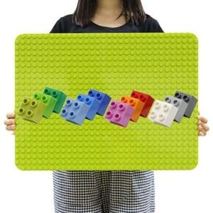 512 Duploes Big Bricks Base Plate 16*32 Dots 51*25.5cm Baseplate Big Size Building Blocks Floor Toys DIY Compatible Green Board