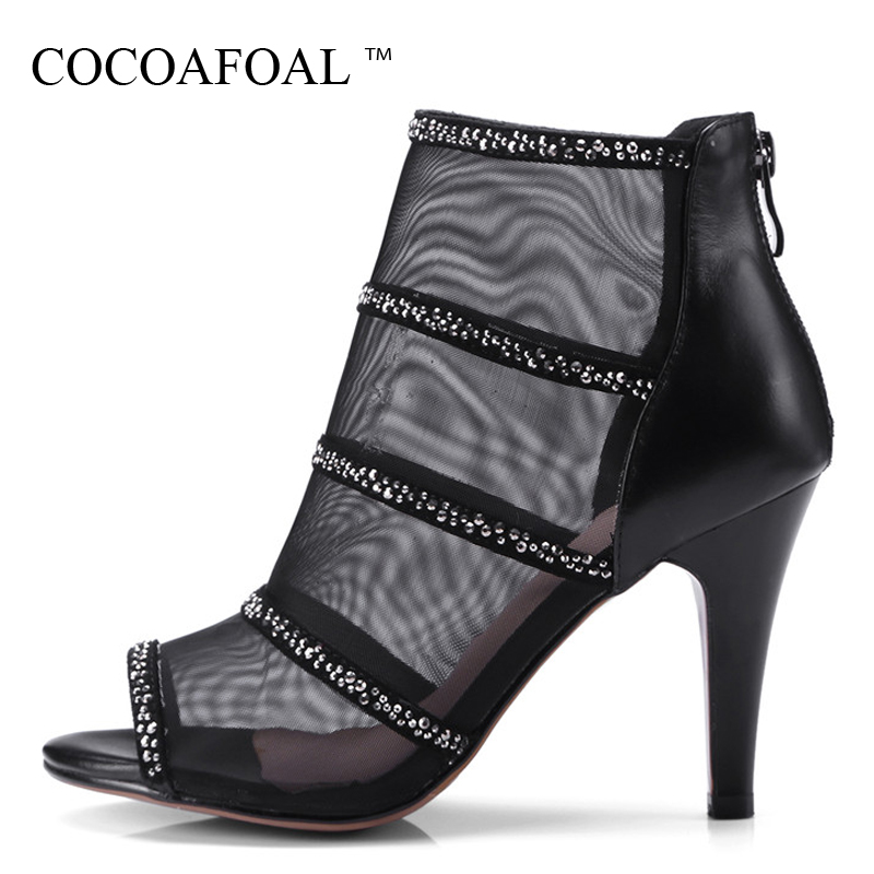 COCOAFOAL Women Open Toe Heels Sandals Black pink Peep Toe Rhinestone Shoes High Heeled Big Size 32 33 43 sexy Summer Sandals rhinestone high heeled sandals women summer gold high heel shoes open toe high heels slippers crystal shoes