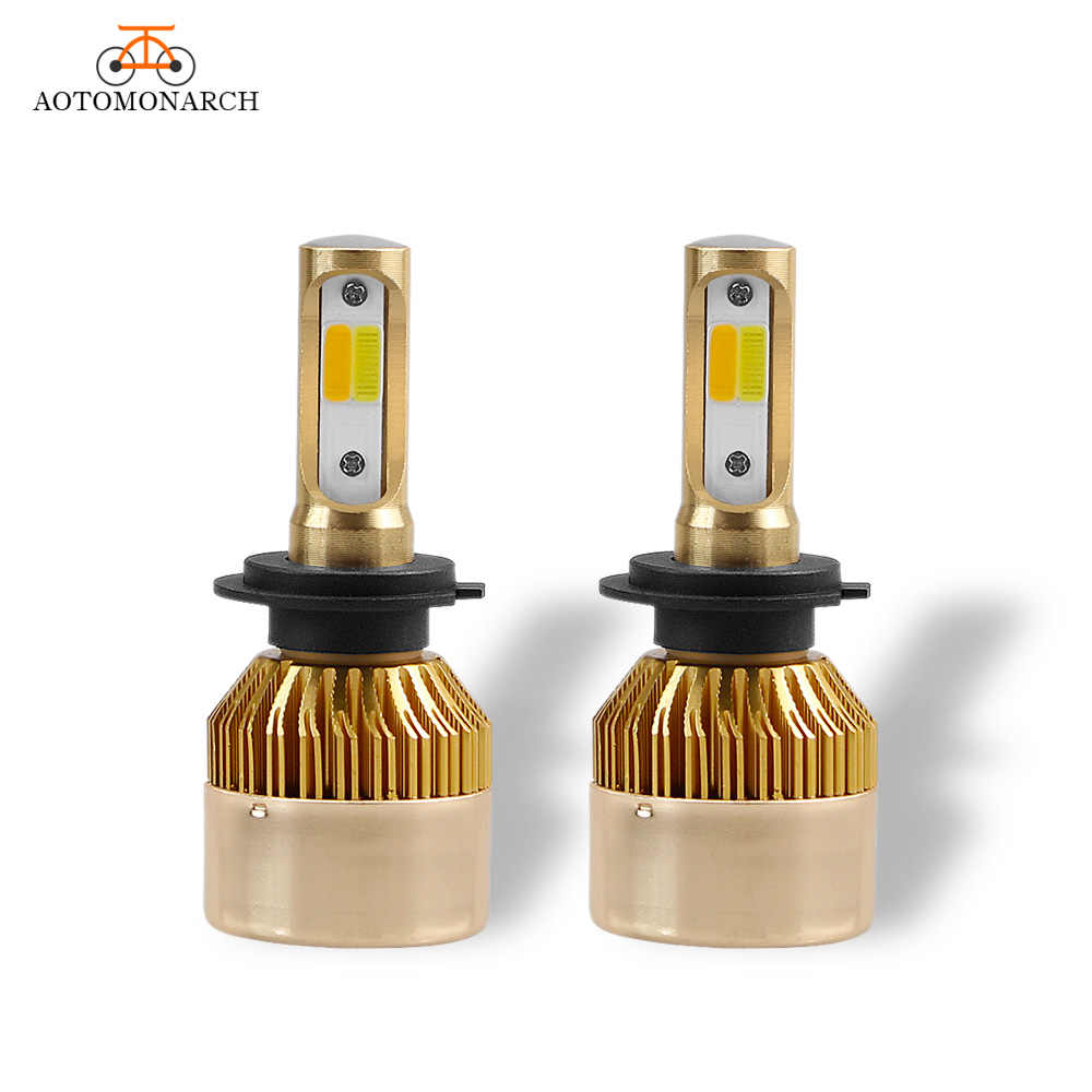 Dual Colors LED Car Lights H4 H7 LED Car Headlight Bulb 9005 9006 H1 H8 H9 H11 H3 HB2 880 881 COB White Yellow 8000LM 12V DE