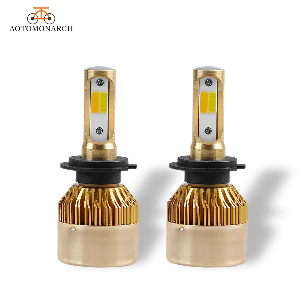 Двойной Цвета светодиодный огни автомобиля H4 H7 светодиодный фар автомобиля лампы 9005 9006 H1 H8 H9 H11 <font><b>H3</b></font> HB2 880 881 COB Белый Желтый 8000LM 12 В DE