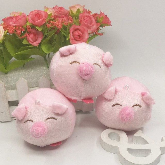 8cm x20pcs cute plush pig head stuffed cerdo animals for bouquet packaging material wedding couple valentine - Valentine Pig