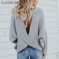 Sexy Backless Sweater Women Casual Soft Sweaters and Pullovers 2018 Fashion Knitted Loose sweater pullover women mujer