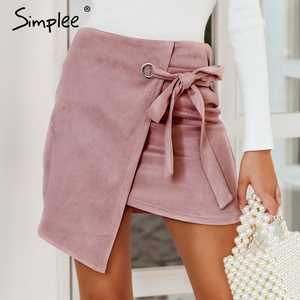 Image 2 - Simplee Asymmetrical split women skirts Elegant lace up bow tie ladies suede short mini skirts Solid black autumn female skirts