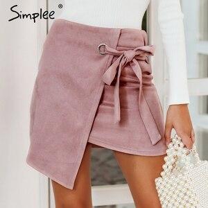 Image 2 - Simplee faldas asimétricas divididas para mujer elegantes con lazo para arriba las faldas cortas de gamuza de las señoras del otoño negro sólido faldas femeninas