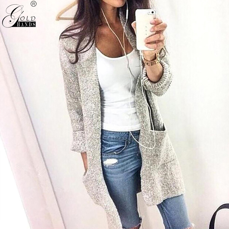 Gold Hands Autumn Winter Street Wear Loose Long Cardigan Plus Size 5XL V-neck Long Sleeve Solid Knitted Cotton Open Stitch