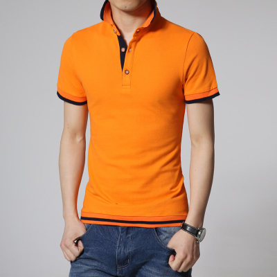 2015 summer england style casual mens polo shirts brand for Mens orange polo shirt