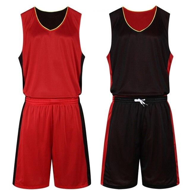 c767b38fc28 Men Quality Reversible Jersey   Shorts 2PCS Basketball Boy Train Suit  Customized Adult Uniform Sportswear Summer Double Set