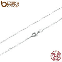 BAMOER 45CM Necklace Chain 925 Sterling Silver Lobster Clasp Adjustable Simple Chain Fashion Necklace Jewelry SCA010
