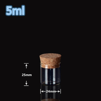 24*25mm 5ml Mini Glass Vials Jars Packaging Bottles Test Tube With Cork Stopper Empty Glass Transparent Clear Bottles 200pcs
