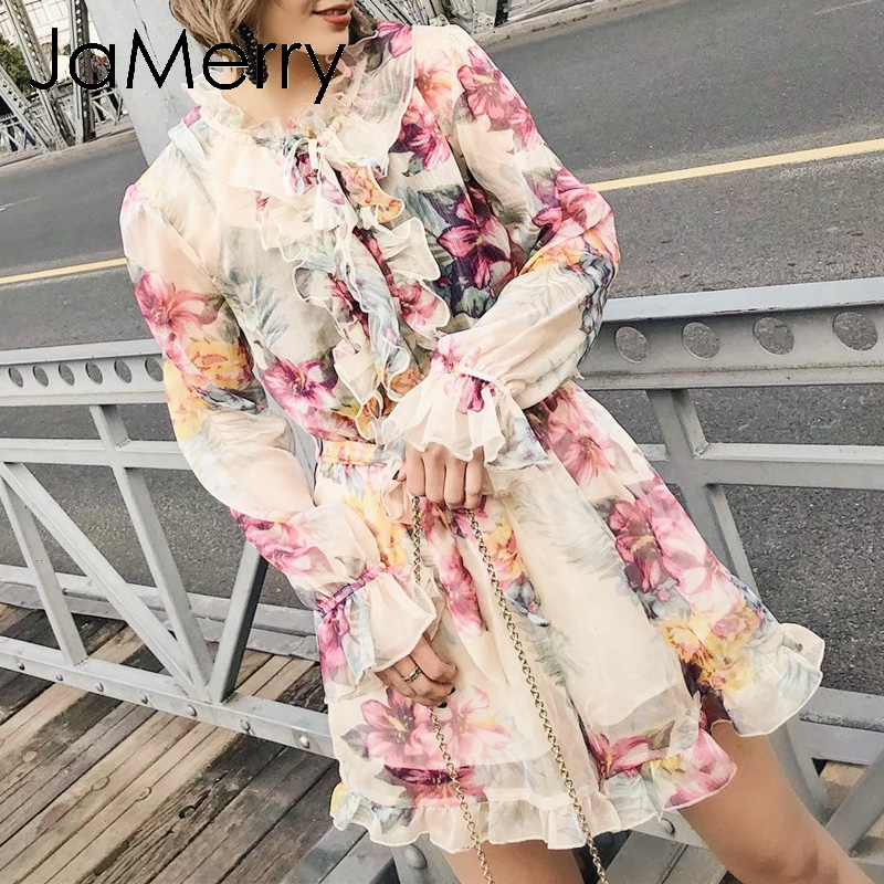 JaMerry Vintage Floral Print Women Playsuit Jumpsuit Elegant Ruffled Long Sleeve Sash High Waist Rompers  Lining Summer Overalls