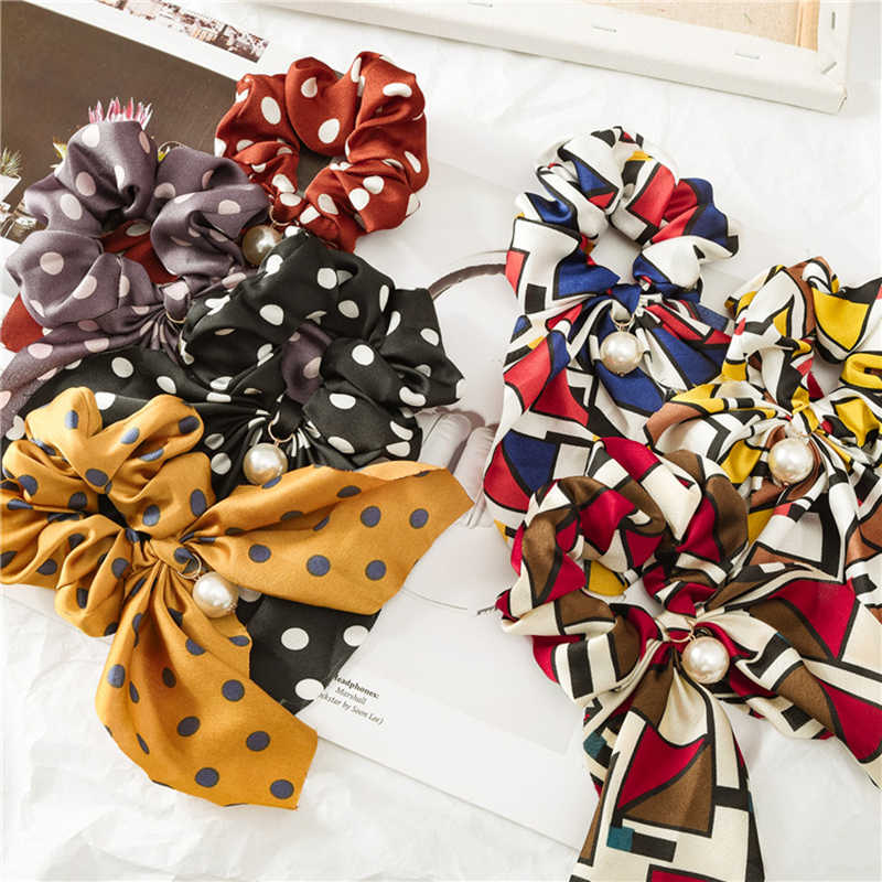 2019 New Hair Rope Ponytail Holder Scrunchies Bowknot Hair Accessories Pearl Women Rubber Bands Popular Hair Tie