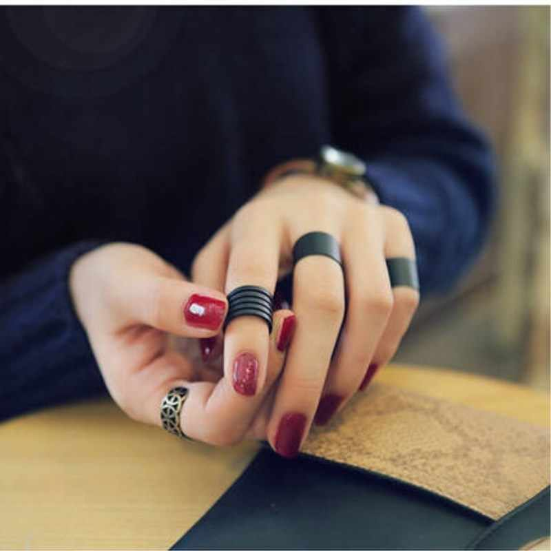 2018 New Womens Ring Trendy Punk Cool Black Metal 3Pcs Simple Knuckle Rings Set Fashion Jewelry Party Accessories 4RD242