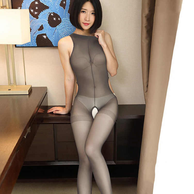 Crotchless Sheer Bodystocking Hollow Full Body Vest Panty Ultra-dunne 15D Transparante Open Kruis Band Panty Kous