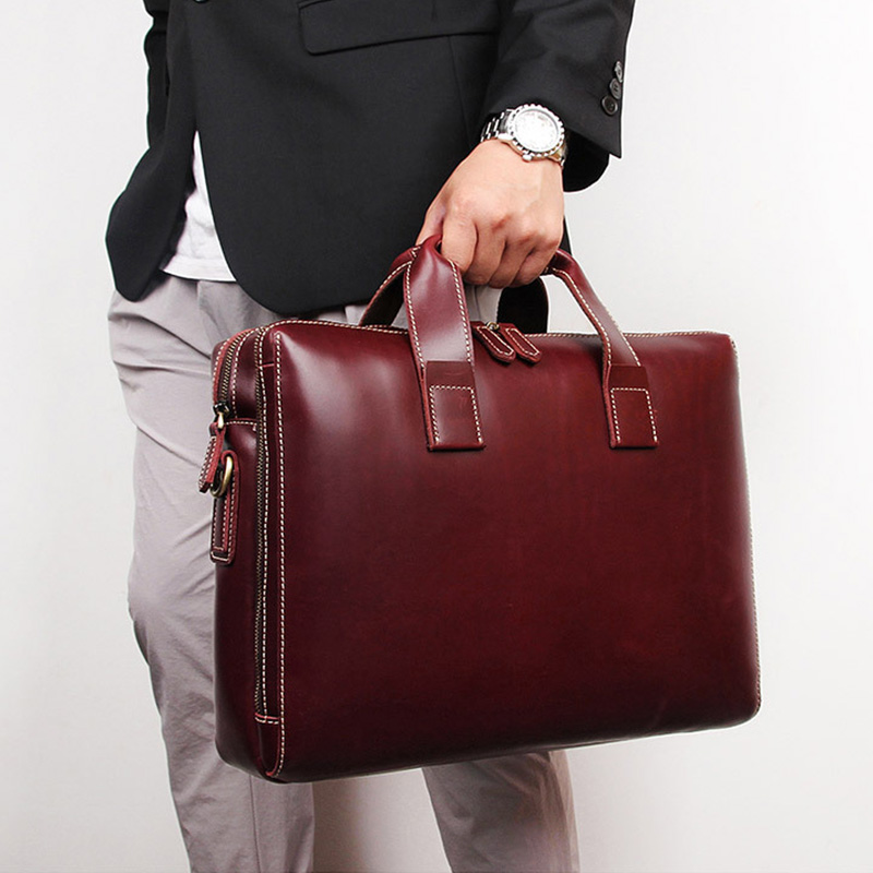 Brand New Simple Fashion Business Briefcase 15 Inch Computer Bag Cow Skin Men's Handbag Lawyer Briefcase