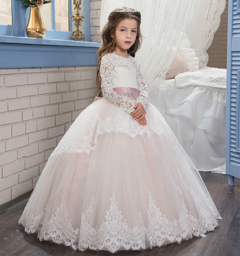 Long sleeves keyhole back tiered flower girl dress with beads crystals for wedding ball gown light pink party birthday gown ball gown sky blue open back with long train ruffles tiered crystals flower girl dress party birthday evening party pageant gown