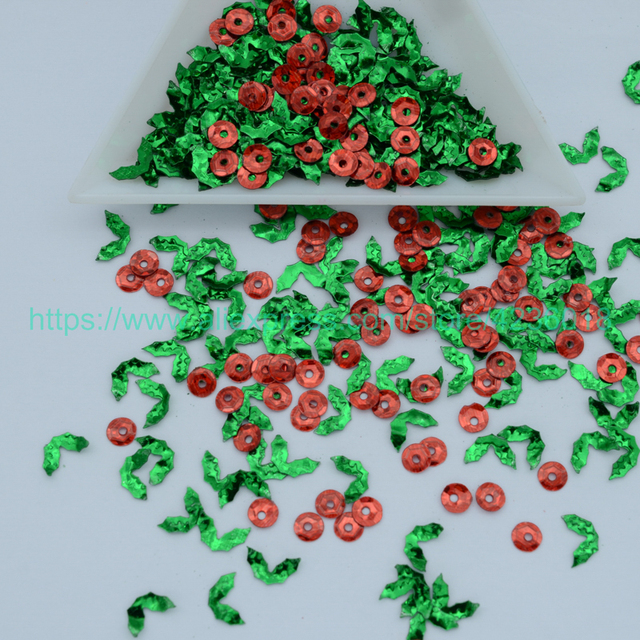 25g 4 7mm Christmas Holly Leaves Shaped Pvc Loose Sequins For Crafts