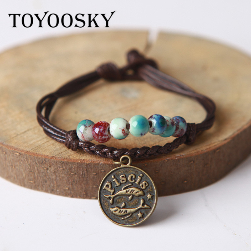 Ceramic Beaded Charm Bracelet Wax Rope Bracelet Bangle With Constellation Pendant Zodiac Astrological Sign Horoscope Cancer
