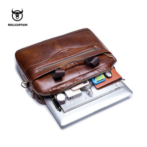 Image 4 - BULLCAPTAIN new fashion cowhide mens business briefcase / leather retro mens crossbody bag / casual business bag / handb