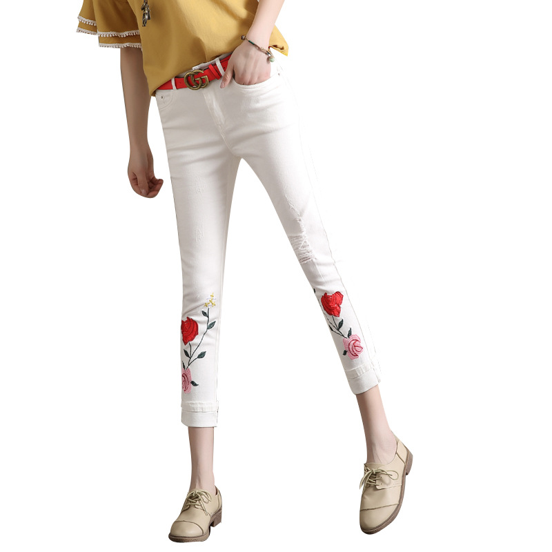 Summer Autumn New Female Casual Flower Embroidery High Waist Cuffs Ripped Vintage Pencil Denim Ankle-length Pants Jeans Women new summer vintage women ripped hole jeans high waist floral embroidery loose fashion ankle length women denim jeans harem pants