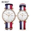 Burei 2017 hombres superiores de la marca mujeres se visten de cuarzo reloj nuevo mano Mesa Parejas Reloj de Moda Casual Reloj de Cuero de La Venta Caliente regalo