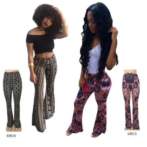 2018 Hot Stylish Women Boho Printed High Waist Stretch Slim Flare Bell Bottom Pants Long Flare Trousers Clubwear Beach Style