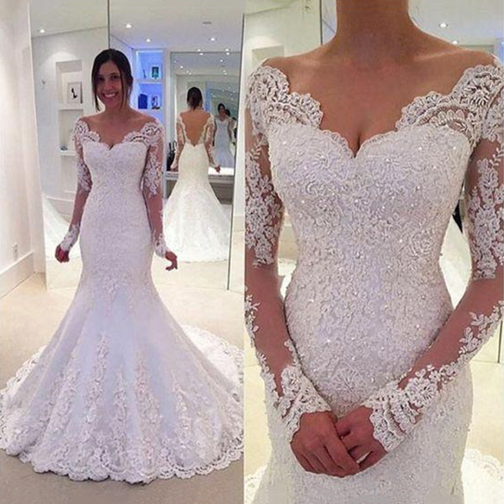 V Neck Long Sleeves White Wedding Dresses Lace Applique Mermaid Open Back Sweep Train Floor Length