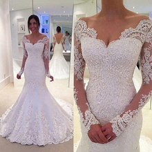 V Neck Long Sleeves White Wedding Dresses Lace Applique Mermaid Open Back Sweep Train Floor Length