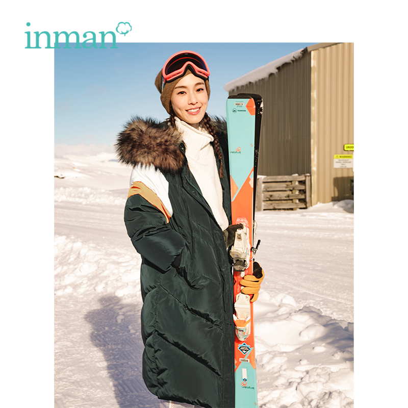 INMAN Winter New Arrival Female Hooded Big Fur Collar Casual Thick Down Coat