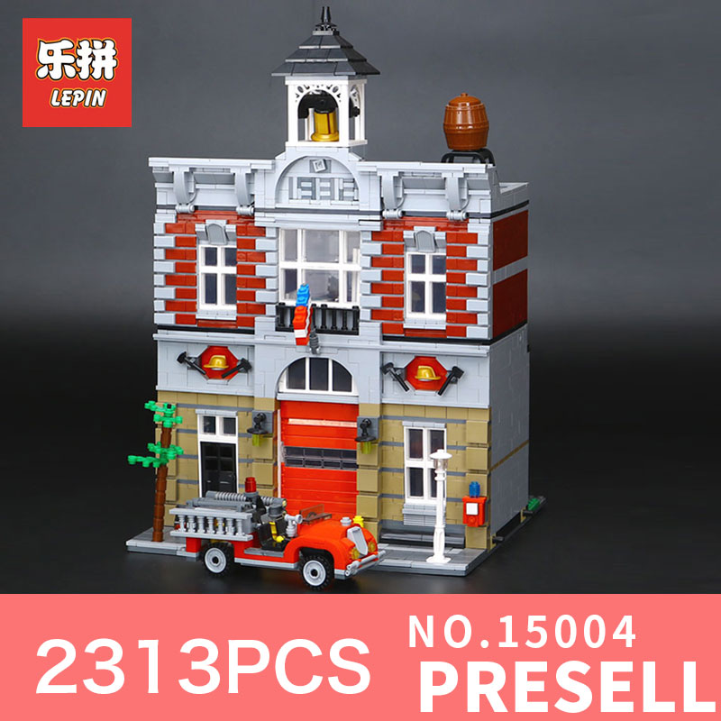 lepin 15004 2313Pcs City Street Creator Fire Brigade Model Building Blocks Bricks Compatible LegoINGs 10197 for children toy lepin 15004 2313pcs city creator series fire brigade model building blocks bricks toys for children gift compatible 10197
