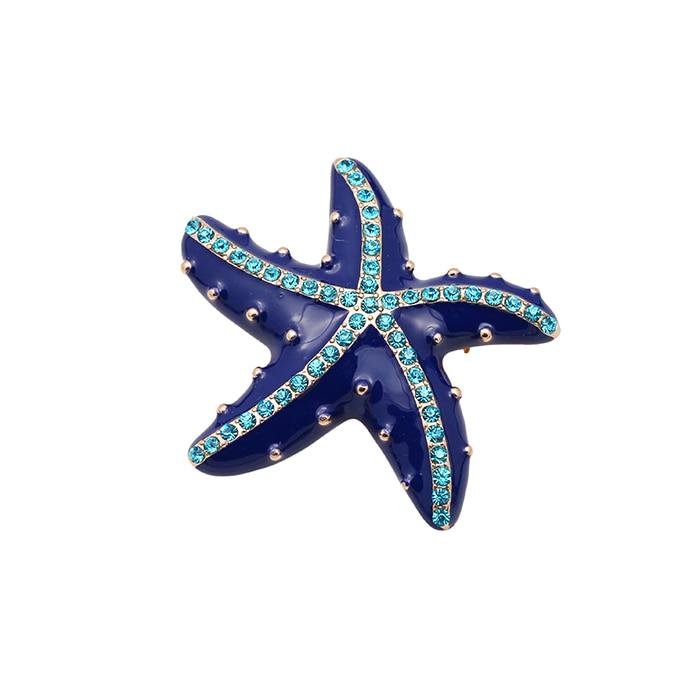 MERRYTOWN  New Fshion Starfish Rhinestone Drop Glaze Enamel Delicate High-grade Brooch Lapel Pin Animal Style Accessories