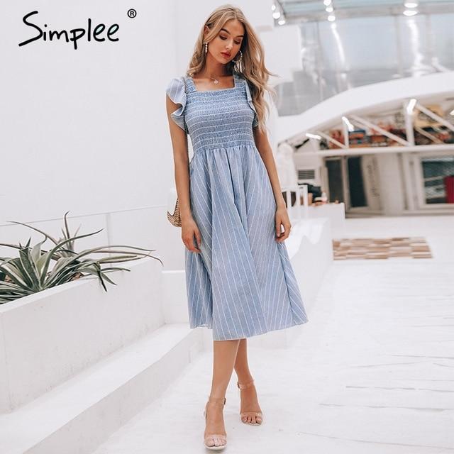 linen blue elegant summer dress Casual cotton  1