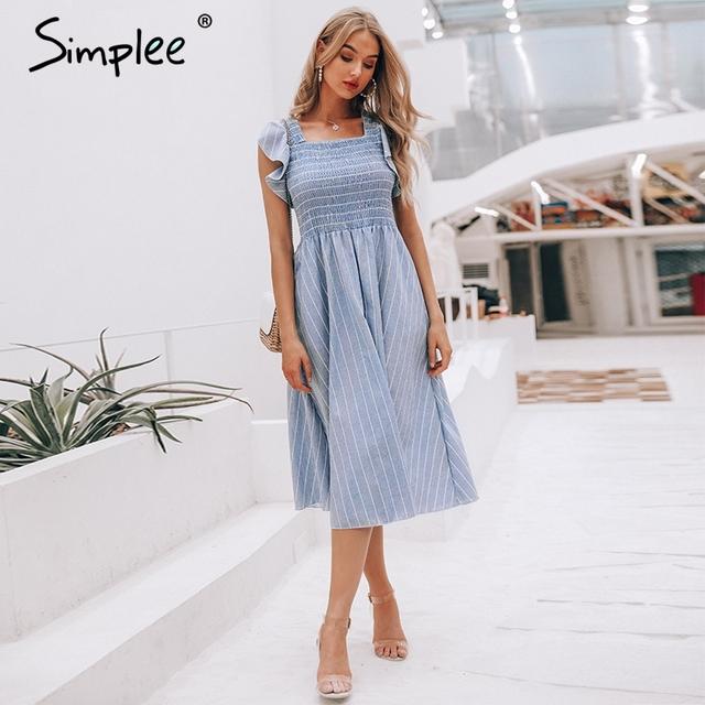 Women long dress Ruffle linen blue elegant summer dress