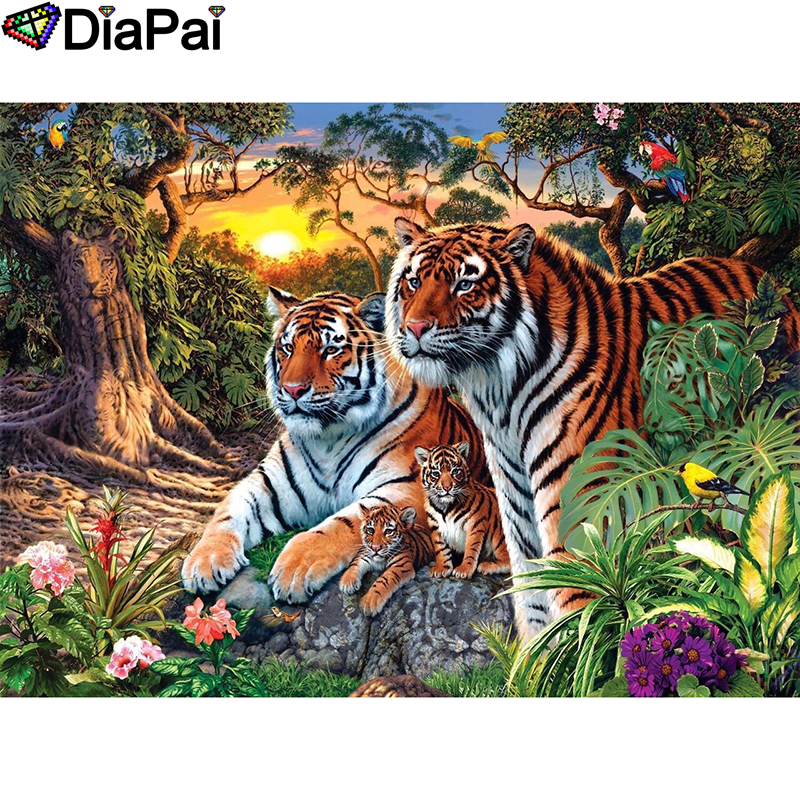 DIAPAI Diamond Painting 5D DIY 100% Full Square/Round Drill Animal tiger sunsetDiamond Embroidery Cross Stitch 3D Decor A24656