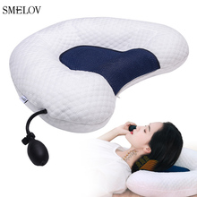 luxury brand adjustable height inflatable cervical heath care pillow cotton big neck head massage sleep pilows bed white