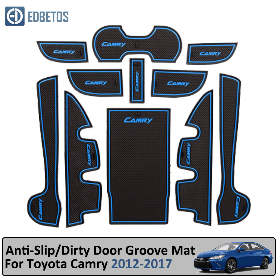 Anti Dirty Pad For Toyota Camry 2012 2017 7 Gen XV50 Altis Aurion 50 MK7 Door Groove Gate Slot Coaster Anti Slip Mat-in Anti-Slip Mat from Automobiles & Motorcycles