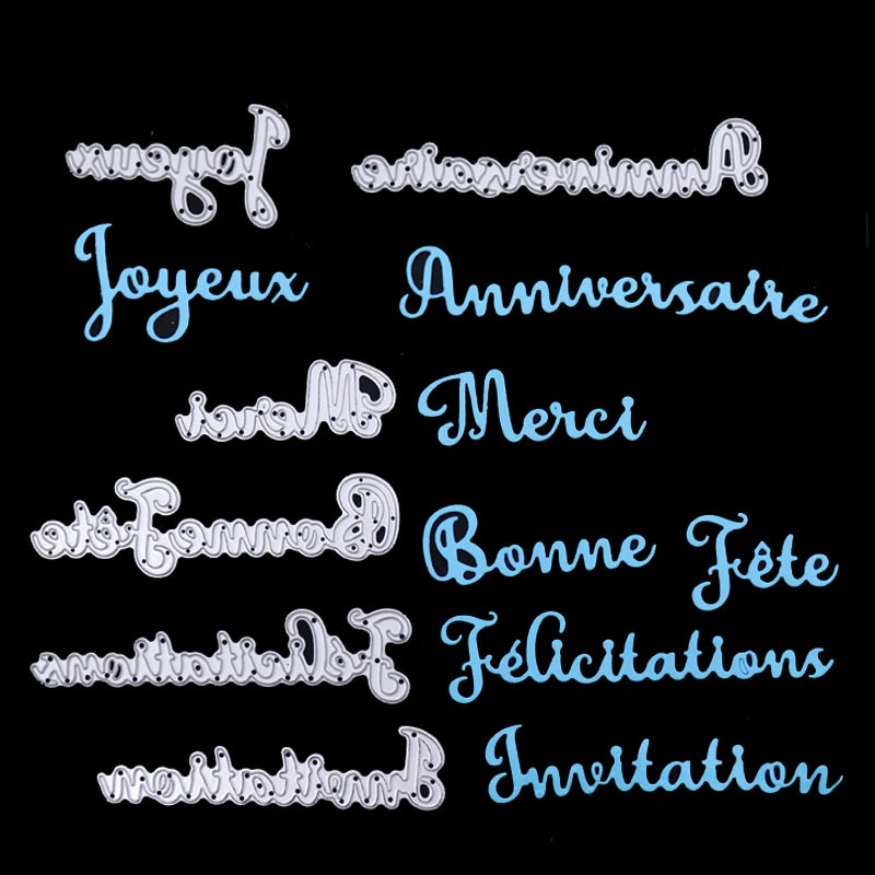 Dolce Vita French Word Happy Birthday Metal Cutting Dies Thank Letter Craft Metal Die Cut for DIY Scrapbooking album Paper Card|Cutting Dies| |  - AliExpress
