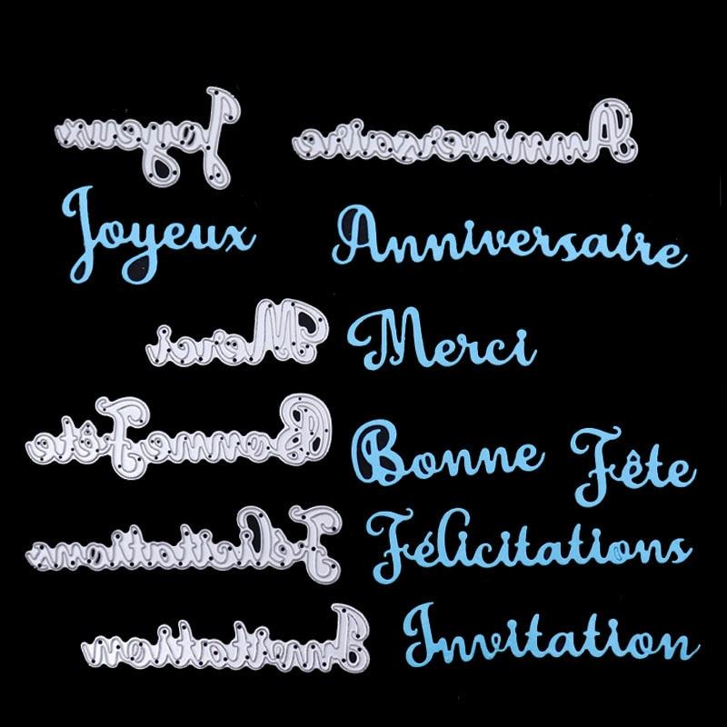 Dolce Vita French Word Happy Birthday Metal Cutting Dies Thank Letter Craft Metal Die Cut for DIY Scrapbooking album Paper Card|Cutting Dies| |  - AliExpress