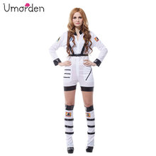 Umorden Purim Carnival Party Halloween Costumes Sexy Astronaut Cosmic Cosmonaut Costume Women Adult White Pilot Cosplay