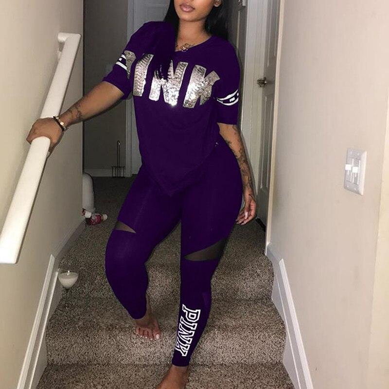 2019 Women Pink Letter Print Sexy Sweatsuit Plus Size Tops+Skinny Pants Sweat Suit Two Piece Tracksuit Casual 2 Piece Set S-Xxxl