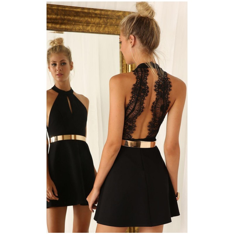 Sexy Black Graduation Dresses For 8th Grade Halter Neck Homecoming