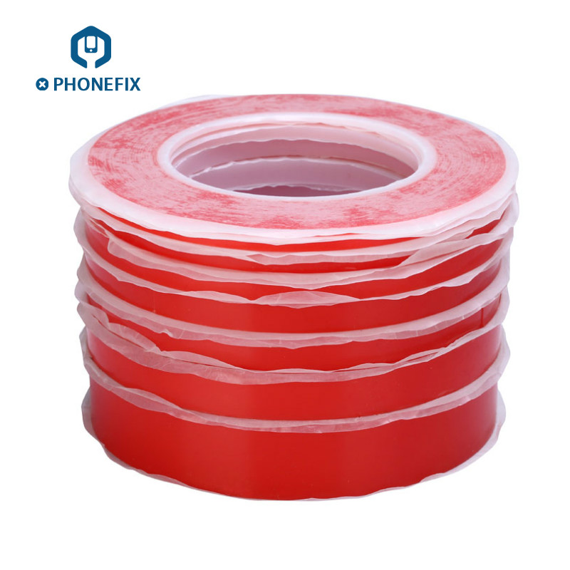 PHONEFIX 25M Acrylic PET Red Film Double Faced Scotch Tape Strong Adhesive Phone Screen Repair Sticker 2mm/4mm/6mm/8mm/10mm