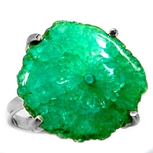 Genuine Solar Quartz Ring, 100% 925 Sterling Silver,  Size:9, KR0136