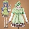 Anime japonés fecha a vivo ermitaño yoshino cosplay traje de satén verde lolita dress disfraces de halloween para las mujeres de tamaño personalizado